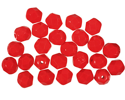Czech Fire Polished Glass Opaque Red Round 6mm
