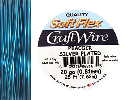 Soft Flex Silver Plated Peacock Blue Craft Wire 20 gauge, 25 ft