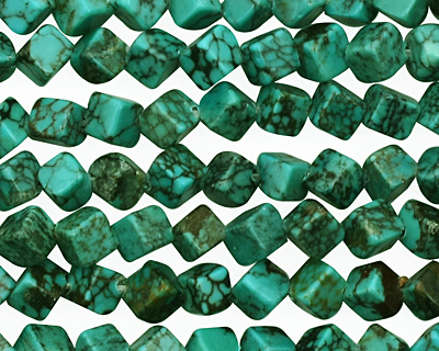 Chinese Turquoise Diagonal Drilled Cube 6mm