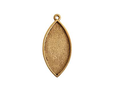 Nunn Design Antique Gold (plated) Navette Bezel Pendant 20x44mm