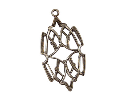 Stampt Antique Pewter (plated) Stained Glass Filigree Drop 17x32mm