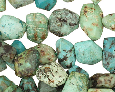 African Turquoise Faceted Nugget 8-11x12-14mm