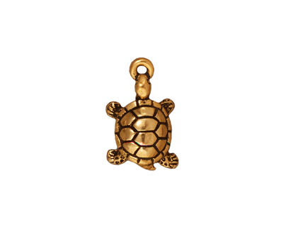 TierraCast Antique Gold (plated) Turtle Charm 11x18mm