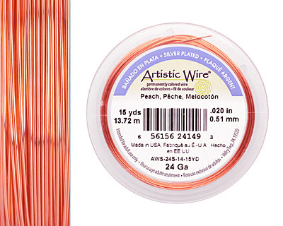 Artistic Wire Silver Plated Peach 24 gauge, 15 yards