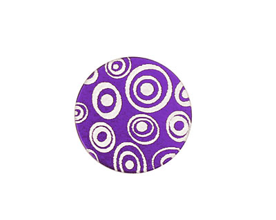 Lillypilly Purple Groovy Circles Anodized Aluminum Disc 19mm, 24 gauge
