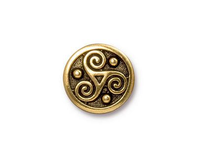 TierraCast Antique Gold (plated) Triskele Button 16mm