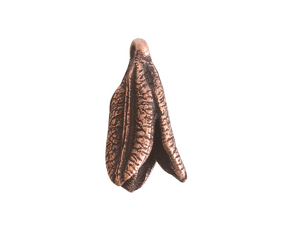 Nunn Design Antique Copper (plated) Young Lily Petal Charm 12x25mm
