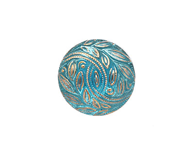 Czech Glass Gilded Olive Branch Button 13mm