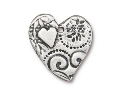 TierraCast Antique Pewter (plated) Amor Heart Pendant 22x23mm