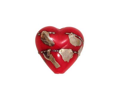 Grace Lampwork Regal Red Metallic Heart 19-20mm