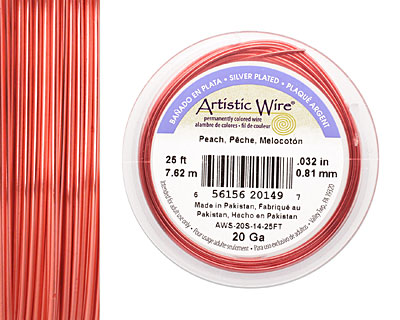 Artistic Wire Silver Plated Peach 20 gauge, 25 feet