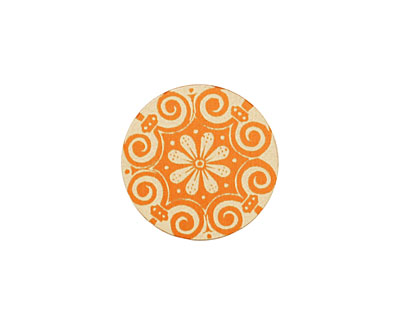 Lillypilly Orange Scrolling Daisy Anodized Aluminum Disc 19mm, 24 gauge