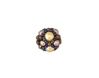 Gilded Pear Hand Woven Round Bead 15mm