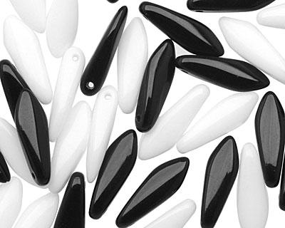Czech Glass Jet & White Dagger 5x15mm