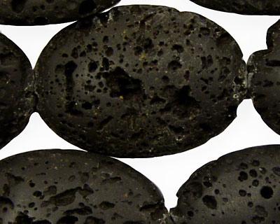 Lava Rock Flat Oval 35x25mm