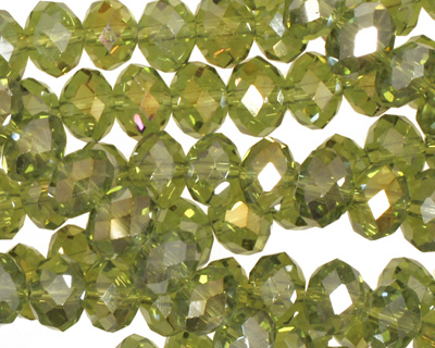 Olivine AB Crystal Faceted Rondelle 8mm