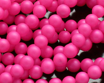 Neon Pink Shell Pearl Round 4mm