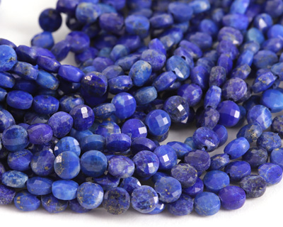 Lapis Faceted Puff Coin 4mm