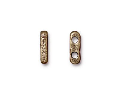 TierraCast Antique Brass (plated) Distressed 2-Hole Bar 3x13mm