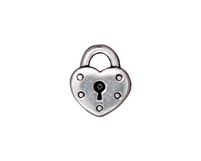 TierraCast Antique Silver (plated) Heart Lock Charm 14x16mm