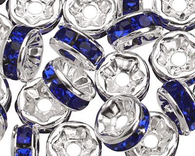 Silver (plated) Cobalt Rhinestone Rondelle 6mm