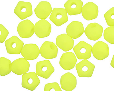 Czech Glass Bright Neon Yellow English Cut Bead (large hole) 6x8mm