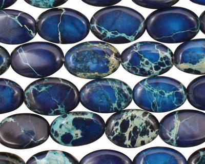 Midnight Blue Impression Jasper Flat Oval 12x8mm