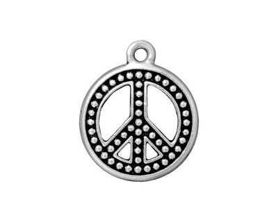 TierraCast Antique Silver (plated) Beaded Peace Pendant 19x23