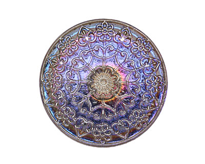 Czech Glass Electric Purple Mandala Button 32mm