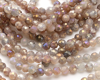 Moonstone (multi) w/ AB Luster Faceted Round 4.5mm