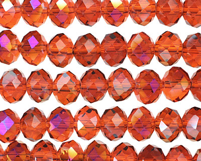 Amber & Purple AB Crystal Faceted Rondelle 8mm
