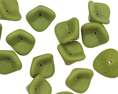 Czech Glass Olive (matte) 3 Petal Bellflower 9x11mm