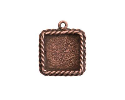 Nunn Design Antique Copper (plated) Mini Ornate Square Bezel Pendant 16x20mm