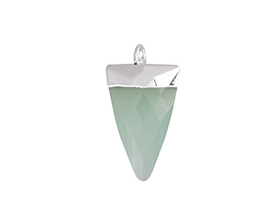 Seafoam Opalite (glass) Faceted Triangle Pendant w/ Silver Finish 13x24mm