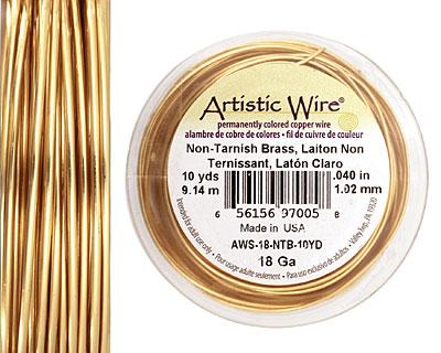 Artistic Wire Tarnish Resistant Brass 18 gauge, 10 yards