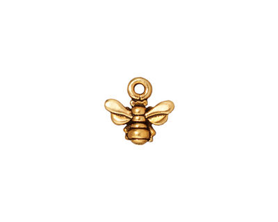 TierraCast Antique Gold (plated) Small Honeybee Charm 11mm