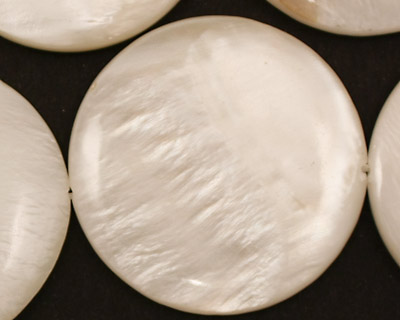 White Fresh Water Shell Puff Coin 35mm