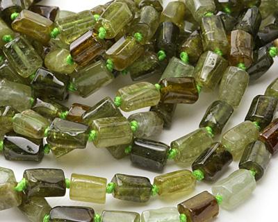 Green Garnet Natural Cut Tube 8-10x6-7mm