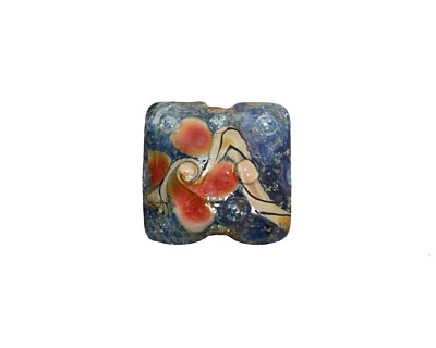 Grace Lampwork Blue w/ Coral Pillow 15mm