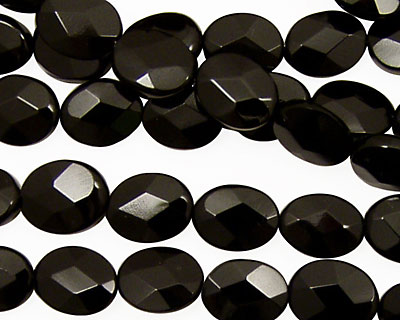 Black Onyx Faceted Flat Oval 10x8mm