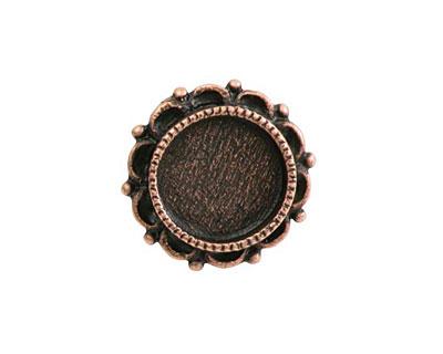 Nunn Design Antique Copper (plated) Mini Ornate Circle Screw Back Bezel 20mm