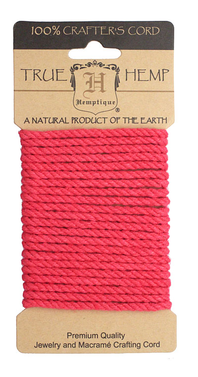Neon Pink Hemp Rope 4mm, 3m