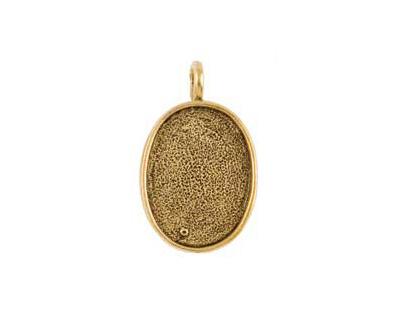 Nunn Design Antique Gold (plated) Large Oval Bezel Pendant 21x35mm