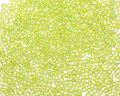 TOHO Transparent Rainbow Lime Green Round 11/0 Seed Bead