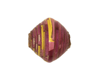 African Paper (purple, yellow) Bicone 20x21-22mm