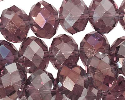 Vintage Lavender AB Crystal Faceted Rondelle 14mm