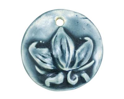 Gaea Ceramic Peacock Lotus Pendant 33-35mm