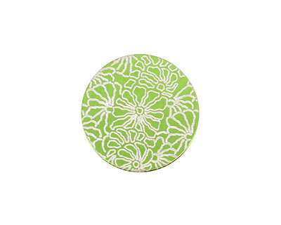 Lillypilly Lime Green Weathered Daisy Anodized Aluminum Disc 19mm, 24 gauge