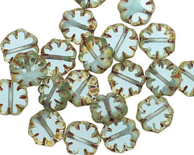 Czech Glass Peruvian Opal Pressed Daisy 8mm