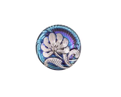 Czech Glass Twilight Skies w/ Silver Single Flower Button 18mm